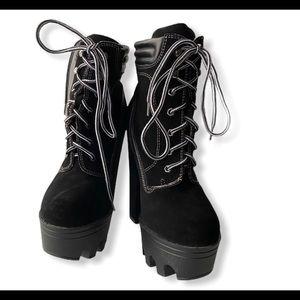Black platform heel black lace up booties